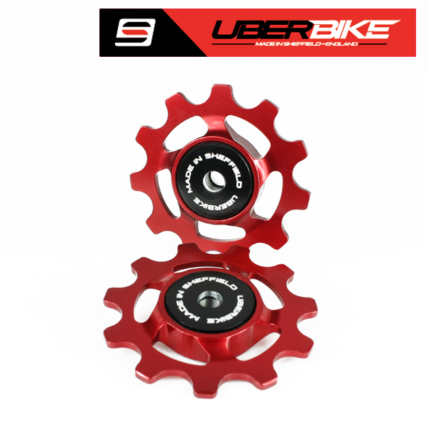 Uberbike Made In Sheffield Stainless Steel Sealed Bearing 11T Jockey Wheels MTB/Road - Red