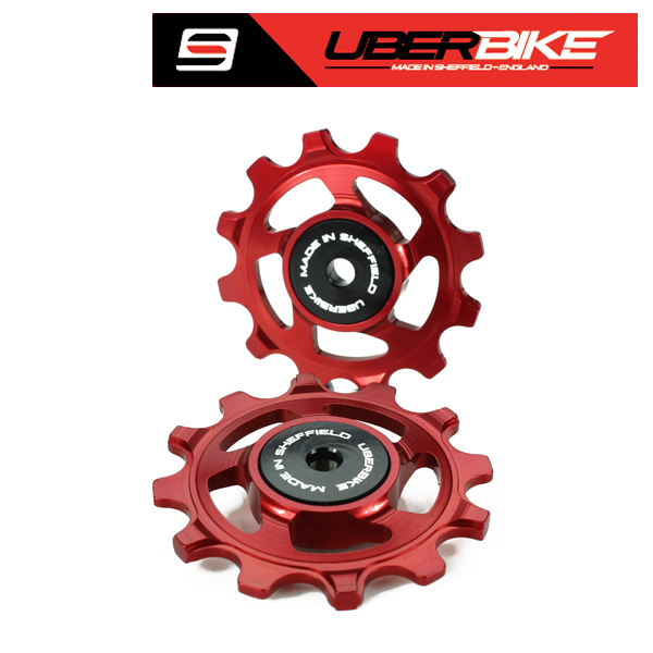 Uberbike Made In Sheffield SRAM XX1-XO1-X1 11 Speed Compatible 12t Pulley Wheels - Red