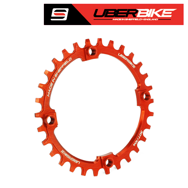 Uberbike Made In Sheffield 104mm BCD Narrow Wide Single Chainring - Orange