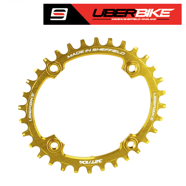 Uberbike Made In Sheffield Oval 104 BCD 32T Advantage Narrow Wide Chainring - Gold