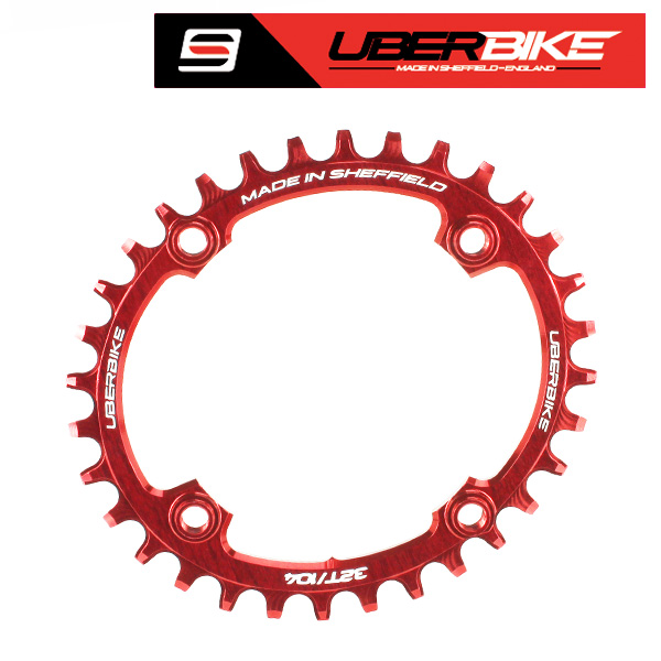 Uberbike Made In Sheffield Oval 104 BCD 32T Advantage Narrow Wide Chainring - Red