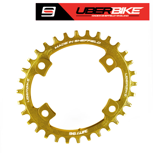 Edit Product - Uberbike Made In Sheffield Oval Shimano XT M8000/SLX M7000 Asymmetric 96 BCD Advantage Narrow Wide Single Chainring - Gold