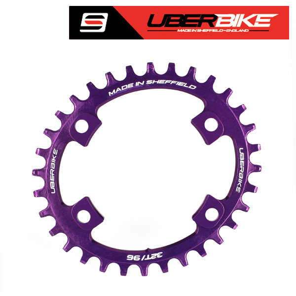 Uberbike Made In Sheffield Oval Shimano XT M8000/SLX M7000 Asymmetric 96 BCD Advantage Narrow Wide Single Chainring - Purple