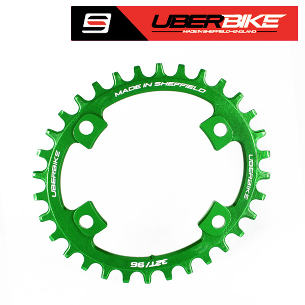 Uberbike Made In Sheffield Oval Shimano XT M8000/SLX M7000 Asymmetric 96 BCD Advantage Narrow Wide Single Chainring - Green