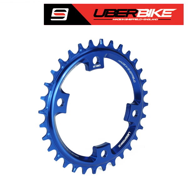Uberbike Made In Sheffield - Shimano XT M8000/SLX M7000 Asymmetric 96 BCD Narrow Wide Single Chainring - Blue