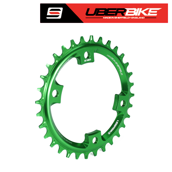 Uberbike Made In Sheffield - Shimano XT M8000/SLX M7000 Asymmetric 96 BCD Narrow Wide Single Chainring - Green