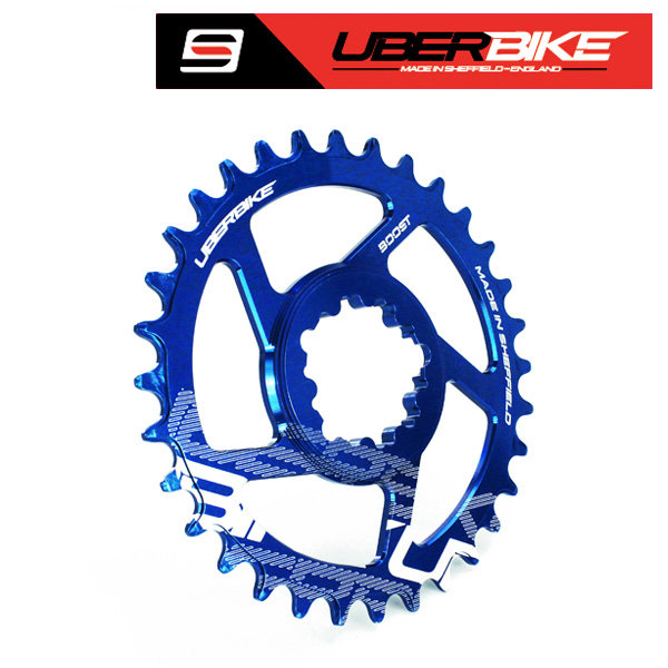 Uberbike Made In Sheffield SRAM Boost Direct Mount Narrow Wide Single Chainring - 30/32/34T options - Blue