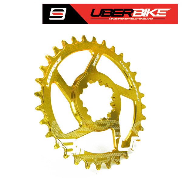 Uberbike Made In Sheffield SRAM Boost Direct Mount Narrow Wide Single Chainring - 30/32/34T options - Gold