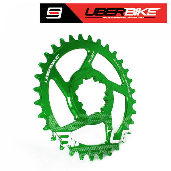 Uberbike Made In Sheffield SRAM Boost Direct Mount Narrow Wide Single Chainring - 30/32/34T options - Green