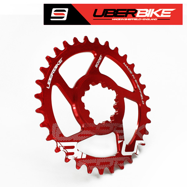 Uberbike Made In Sheffield SRAM Boost Direct Mount Narrow Wide Single Chainring - 30/32/34T options - Red