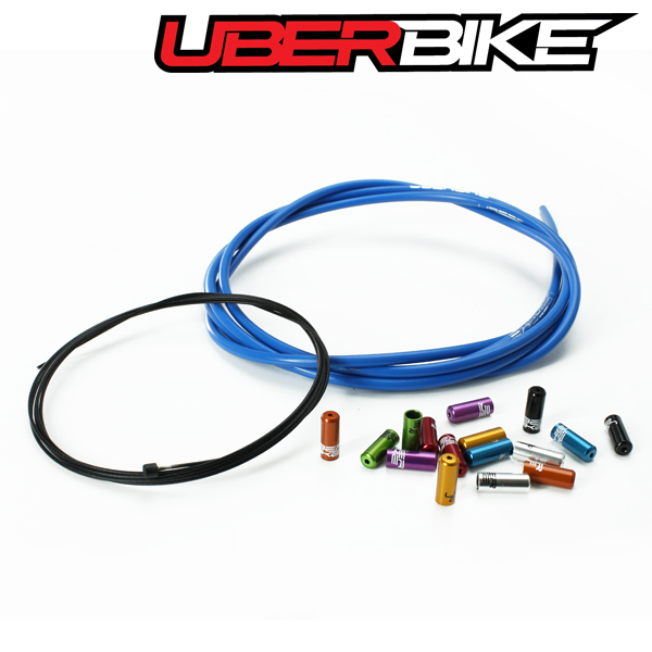 Uberbike Singlespeed Gear Cable Kit Builder - Blue with Sealed Ferrule Colour Options