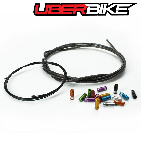 Uberbike Singlespeed Gear Cable Kit Builder - Smoke Braid with Sealed Ferrule Colour Options